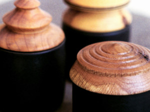 Pottery Jars with Wooden Lids