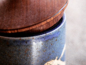 Pottery Jar with Wooden Lids