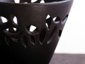Black Vase with Leaves