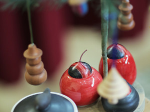 Jars with Colourful Wooden Lids and Christmas Ornaments