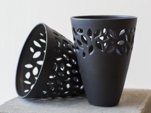 Black Leaf Vases