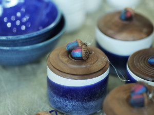 Blue Jars with Wood Lids
