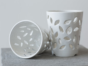 White Vase with Leave Cut-Outs